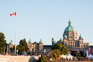 Victoria's Legislature on Canada's 150th birthday. Photo credit to Michelle Edwards/@ehbseasides on Flickr.
