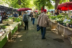 Market with vegetable stalls