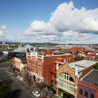 Rooftop photo of downtown Victoria BC in spring, facing Wharf St.