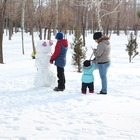 A family of two parents and two children building a snowman in the woods